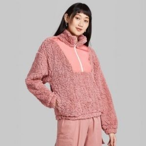 Long Sleeve Quarter Zip Pullover Sherpa Jacket